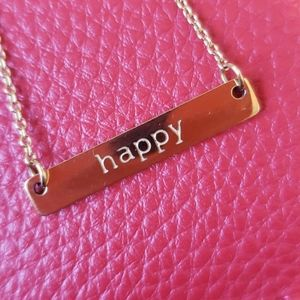 """Gold """"Happy"""" Short Necklace - Jook and Nona"""
